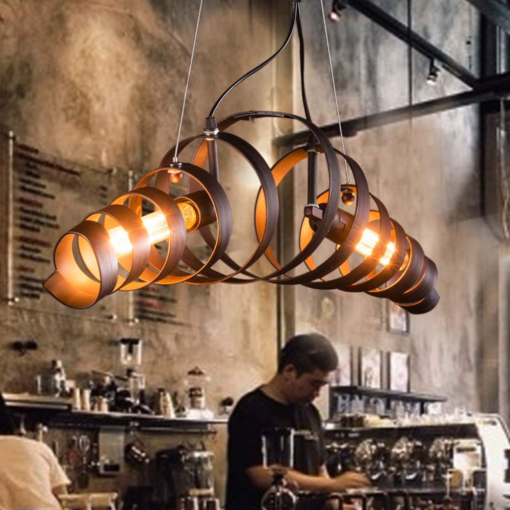 AC110V 220V 2 Arms Retro Country Style Hanging Ceiling Light Vintage Industrial Lamp For Restaurant