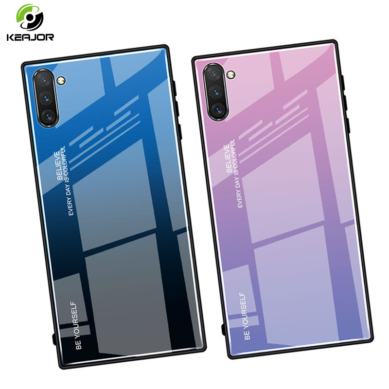 Tempered Glass Case For Samsung Galaxy Note 10 Plus Pro Case Luxury Gradient Cover Hard Armor Bumper For Samsung Note 10 Cover