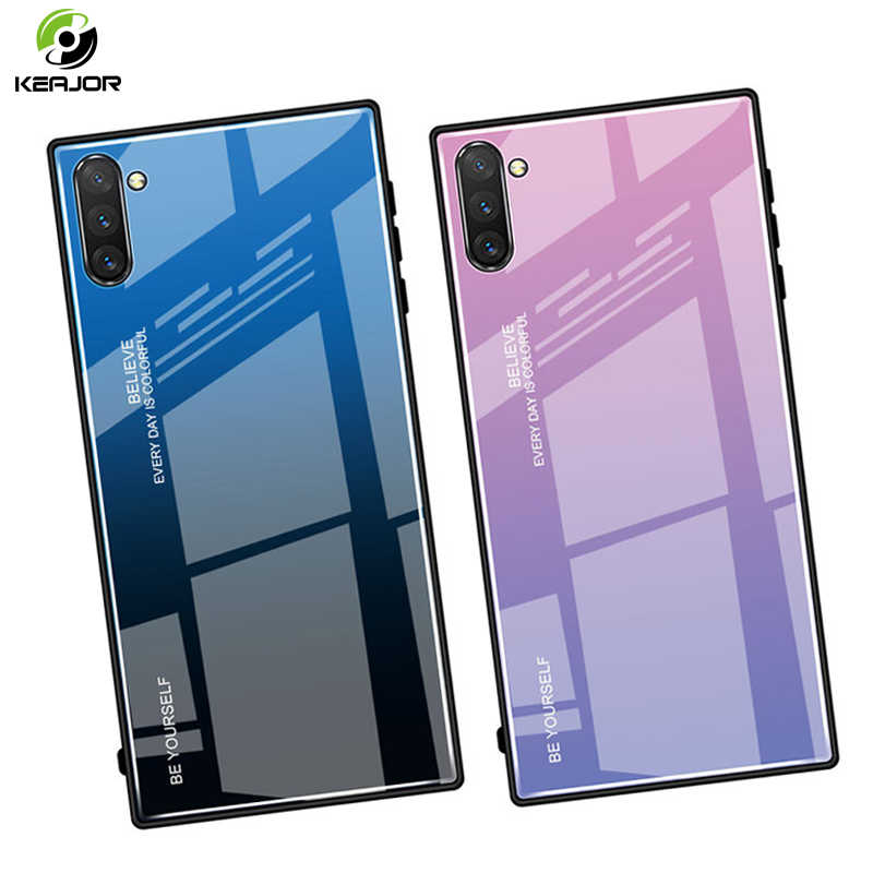 Tempered Glass Case untuk Samsung Galaxy Note 10 Plus Pro Case Mewah Gradient Cover Hard Armor Bumper untuk Samsung Catatan 10 Cover