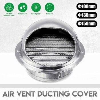 304 Aço Inoxidável 100mm/130mm/150mm Cobertura Do Duto Redondo Sistema De Ventilação Ventilador Exaustão Parede Ventilação Ar Ventilação Duto Capa à Prova De Chuva Mais Novo
