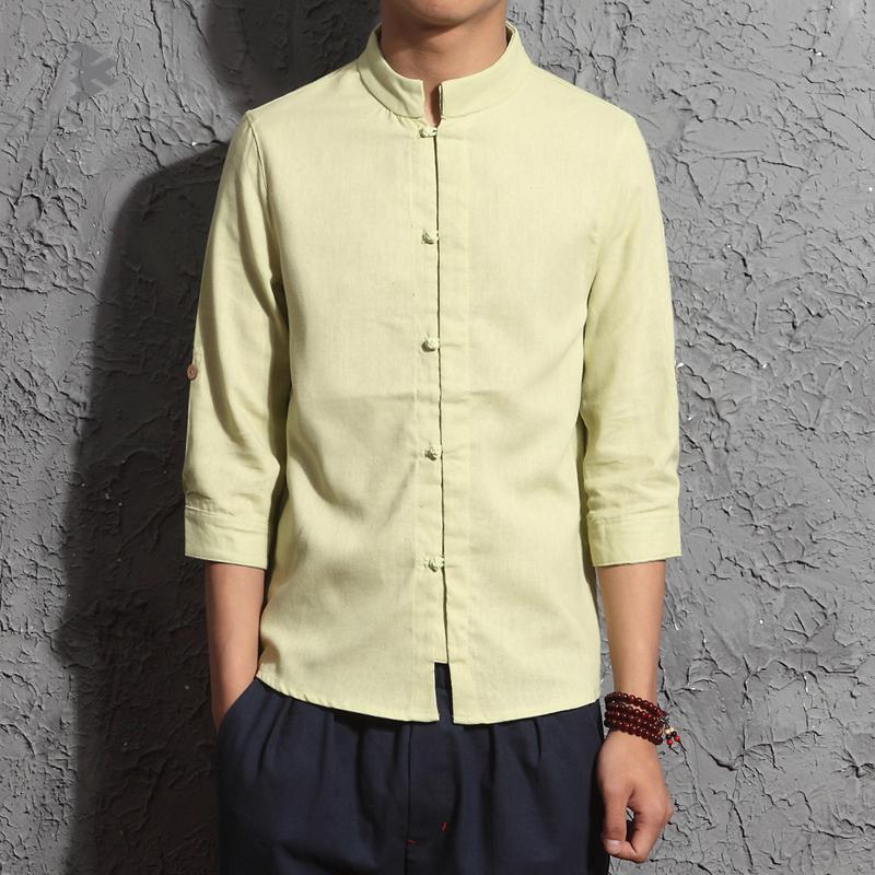 2018 Men Shirt Long Sleeve Slim Fit Solid Mens Linen