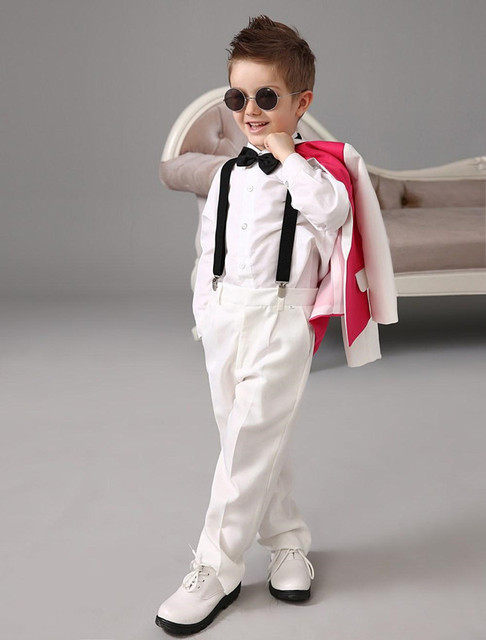 2015 Luxurious Red and white Ring Bearer Suits cool Boys Tuxedo ...