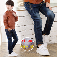 Plus Velvet Warm Winter Childrens Jeans 2016 New Boys Baby Jean Kid Designer Pants High Quality