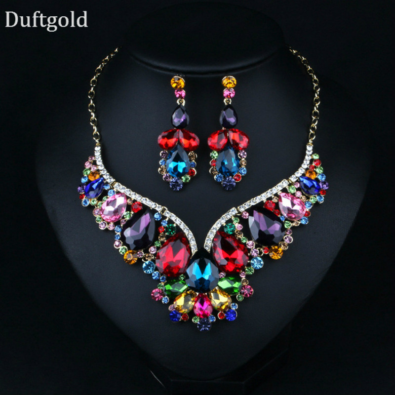 2018 New Geometric Waterdrop Crystal Flower Pendant Statement Necklace Earring Set for W ...