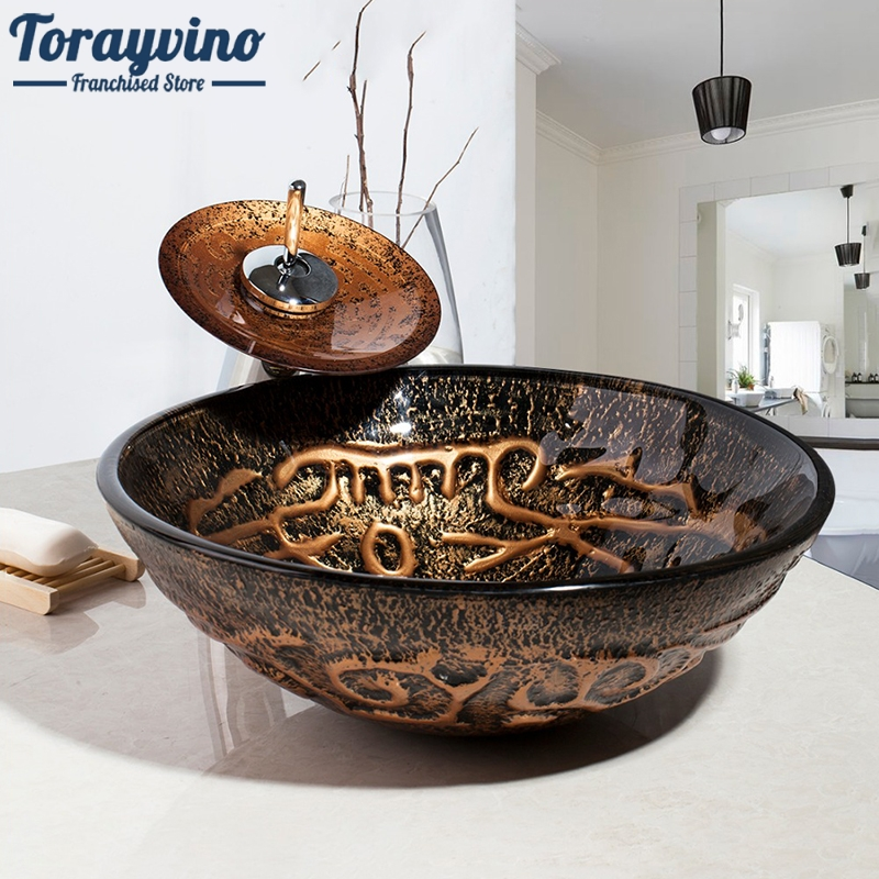 Torayvino Bathroom Glass Sink Wash Basin Sink Tap Bathroom Sink Glass Hand-Paint Lavatory Sink Set Waterfall Mixer Tap Faucet