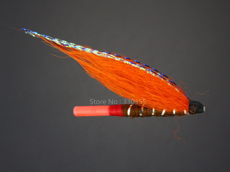Tube Fly Brown/Orange Salmon And Sea Trout Fly Fishing Flies Lures 100 Pcs