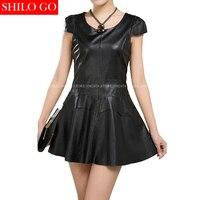 Plus Size Summer New Fashion Women High Quality Sheep Skin O Neck Luxury Vintage Thin Black