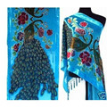 Fashion Light Blue Ladies' Velvet Silk Beaded Embroidery Shawl Scarf Wrap Scarves Peafowl Free Shipping WS006-N