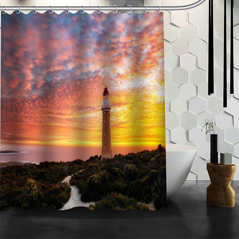 Best Nice Custom Lighthouse Shower Curtain Bath Waterproof Fabric Bathroom MORE SIZE A61 131 In Curtains From Home Garden On