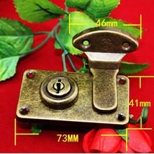 Lock-Box Vintage-Style Rectangle Tone-Bag Wooden Bronze 73--41mm