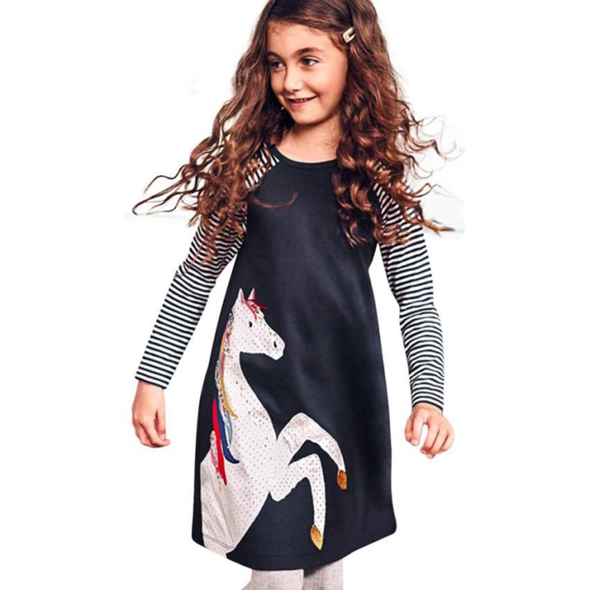 Fashion Teenage Girl Kid Spring Clothes Horse Stripe Print Princess Dress Girls Party Dress Girl Summer 2018