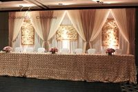 3M*6M Gold with White Wedding Backdrop Stage Curtain Wedding Decoration