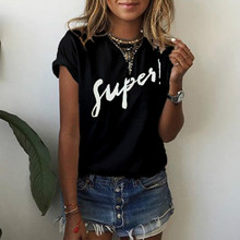 Summer Cotton T-shirt 5XL Plus Size Top Women T-Shirts Black White Letters Printed TShirt Loose Tops Tees Casual