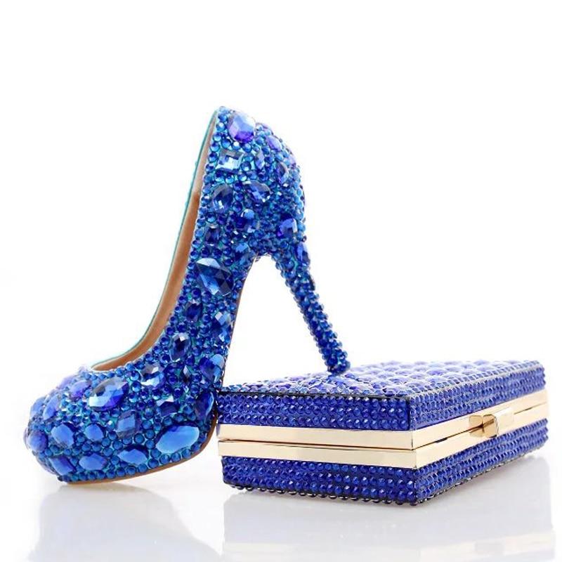 Altos Con 12cm Moda Boda blue Partido Cristal Heels Nupcial Prom 10cm Señora Rhinestone Heels Bombas Juego A La Embrague 14cm Azul Zapatos De Tacones Bolso Blue RwpOqXt