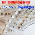 35valuesX2pcs = 70 pcs SMD 6.3 V ~ 50 V 1 uf ~ 1500 uf Capacitor Eletrolítico de Alumínio Variedade Kit Pack para Computador Motherboard