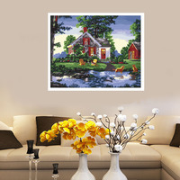 Landscape Painting Natural View Village By The River Woods Modern Canvas DIY Oil Painting By Numbers