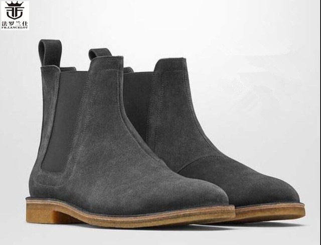 6cdcd45a2fa US $75.36 60% OFF|FR.LANCELOT Chelsea men leather boots fashion cowboy  boots Europe trend suede leather boots low heel riding booties dress  shoes-in ...