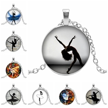 2019 New Ballet Dancer Character Silhouette Glass Cabochon Pendant Girl Oil Painting Dome Necklace Clothing