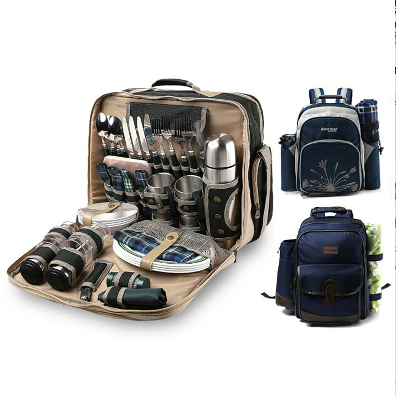 Luxury four picnic bag Outdoor equipment Four people multi-function cutlery set Keep temperature package/160802 color picnic set