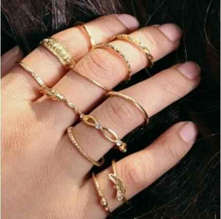 Boêmio geométrica elemento liga conjunto anel de cristal senhoras projeto personalidade conjunto anel ornamento belo presente venda direta da fábrica