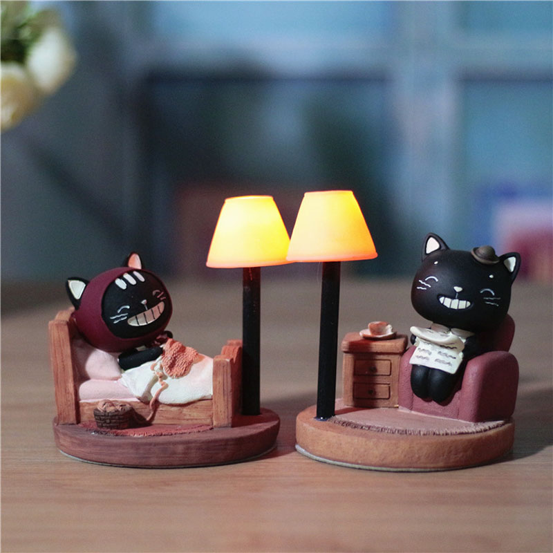 Black Cat Shape Novelty Night Light For Home Deco Cute Led Table Lamp For Living Room Amazing gifts for Kids novelty smile face rainbow led night lights battery night lamps for baby room nursery living room decor kids christmas gifts
