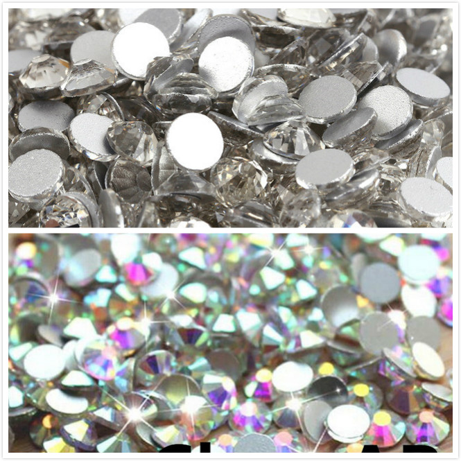 10Bags / Lot super glitter rhinestones Crystal AB Түсі ss3-ss50 Non HotFix FlatBack Nail Art Rhinestones, ногтей өнері безендіру