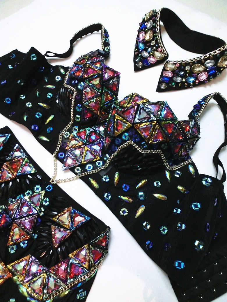 65bd5cad62 Sexy Women's Dance Wear Rhinestone Outfit Customized Bra High Waist Shorts  Luxury Crystals Baroque Singer Stage Clothing Set