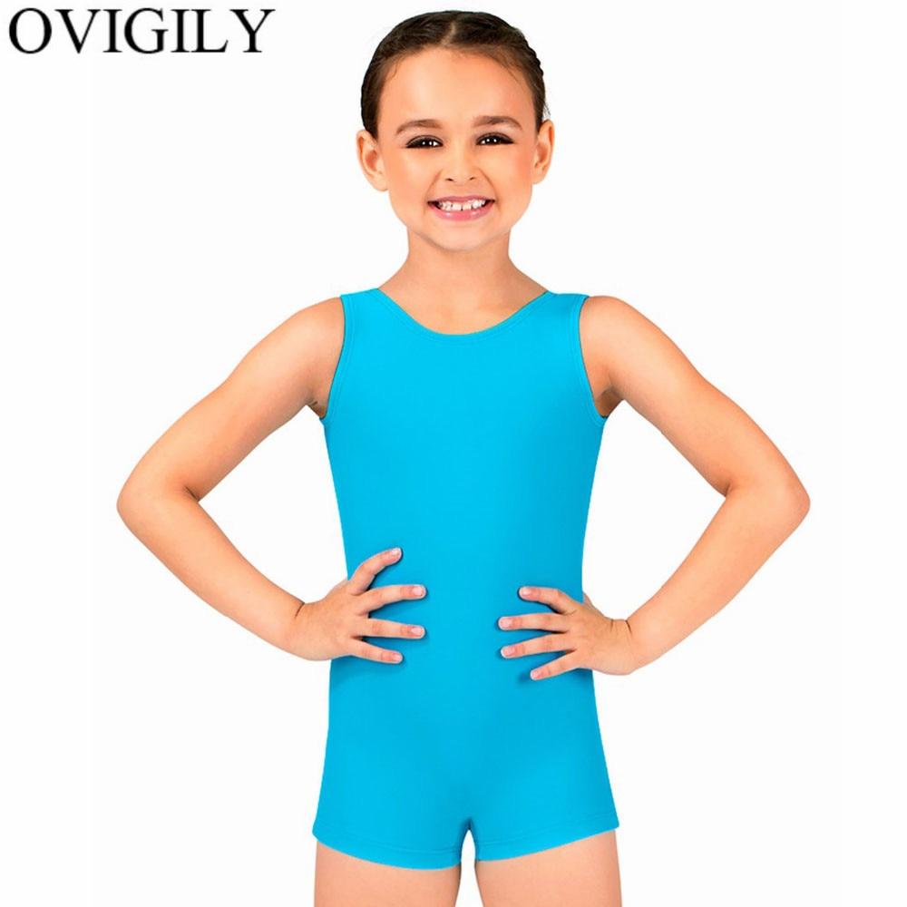 US $9 51 44% OFF|OVIGILY Kids Stretchy Tank Biketards Gymnastics Shortall  For Little Girls Sleeveless Shorty Unitard Outfits Boy Athletic Costume-in