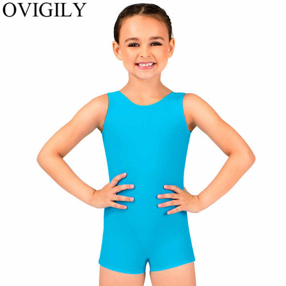 MSemis Kids Girls Boys Short Sleeve Tank Biketard Gymnastics Dance Unitard Athletic Bodysuit