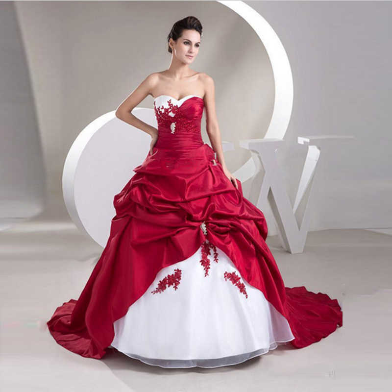 2019 New White and Red Wedding Dresses Hot Sales Sweetheart Sweep Train Ball Gown Taffeta Applique Ruffles  Bridal Gowns Lace Up
