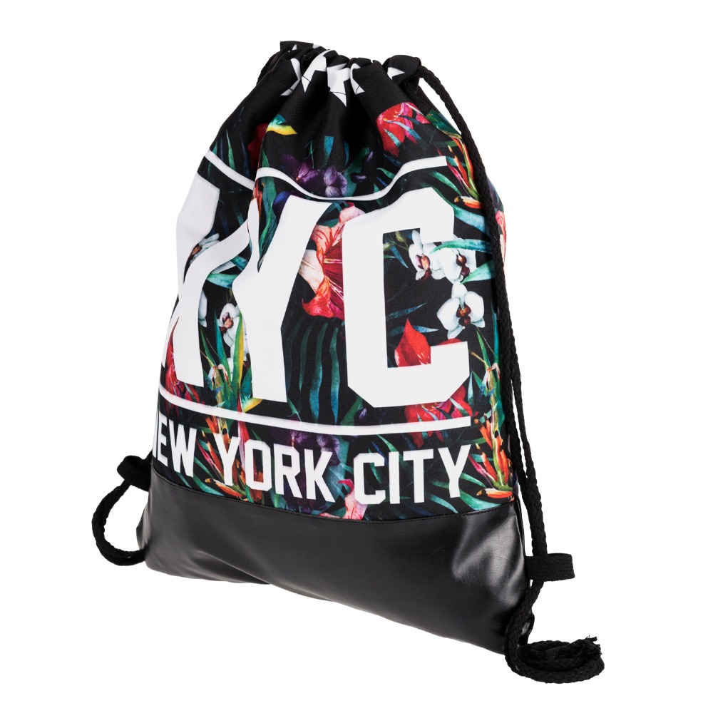 NYC Tropical Floral Printing Leather Bottom Backpack Women 2018 Brand New Summer Beach Men Leisure Mochila Street Drawstring Bag drawstring front cutout midriff tropical jumpsuit