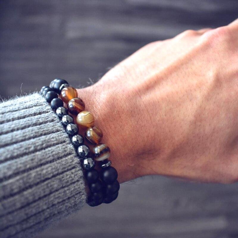 Mcllroy 2Pcs Lucky Gem Fashion Natural Black Mantra Prayer Beads Buddha Bracelet for Women and Mens Pulseras Masculina