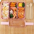 TUUTH Mikrowelle Lunch Box 3 Schicht 900ml Lagerung Box Weizen Stroh Obst Salat Reis Bento Box Lebensmittel Behälter für schule Büro-in Lunchboxen aus Heim und Garten bei