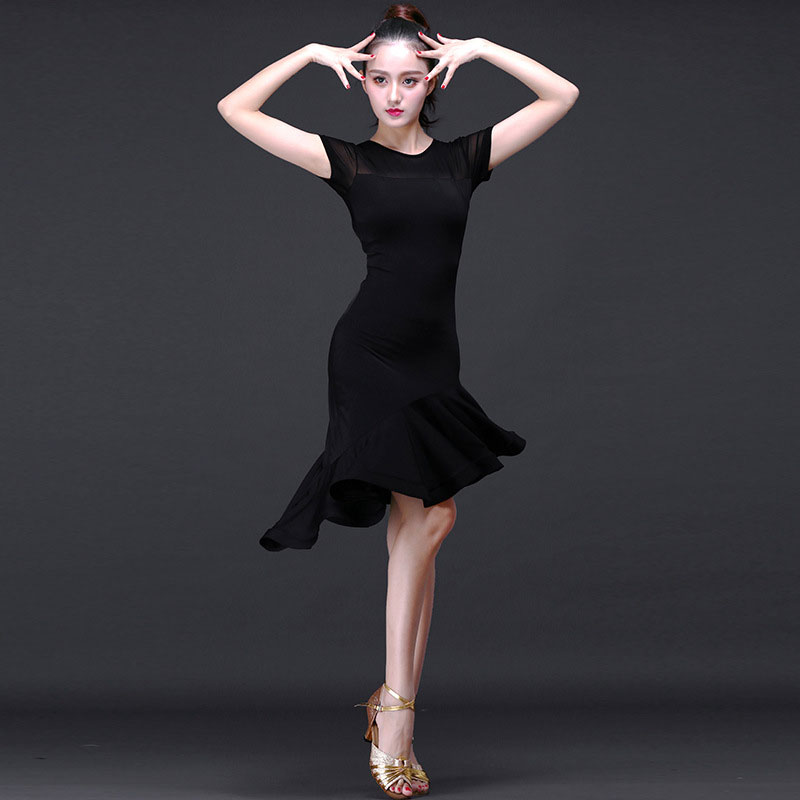 New Latin dance dresses Black / red short sleeve irregular Latin / Cha Cha/Rumba/Samba/Tango Practice/Performamnce dresses