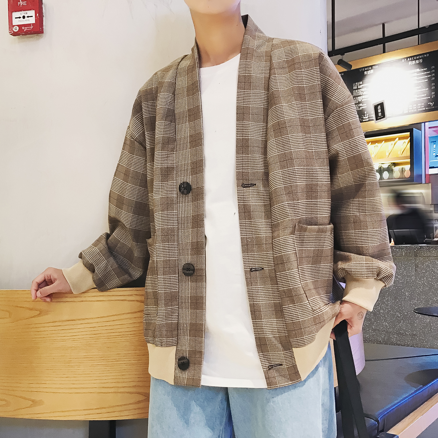 2019 Men's Lattice Pattern Quick drying outerwear clothes Fashion Tide Kimono Loose Casual Grey/Khaki Color Jacket Coats-in Jackets from Men's Clothing    1