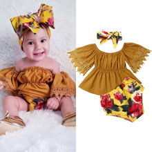 New 3PCS Toddler Kid Baby Girl Clothes Off Shoulder Lace Ruffle Sleeve Crop Tube Tops+Floral Shorts +Headband Summer Outfits Set girls floral blouse kid s clothes long sleeve off shoulder tops children clothing summer girl s outfits