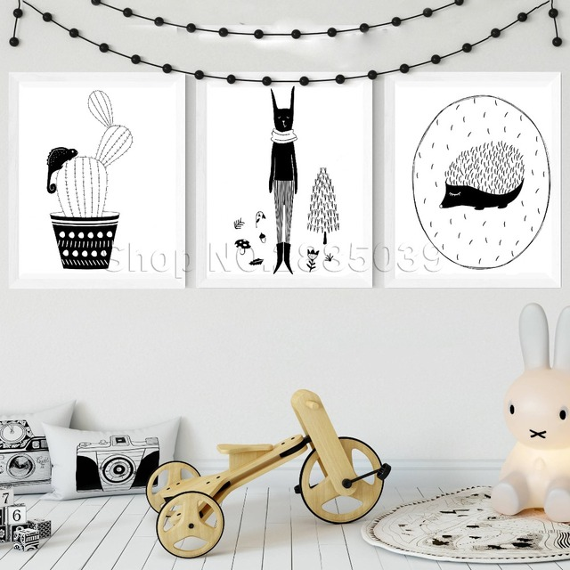 Cactus Hedgehog Hare Woodland Wall Stickers For Baby Nursery Decor Monochrome Nordic Style Forest Poster Kids