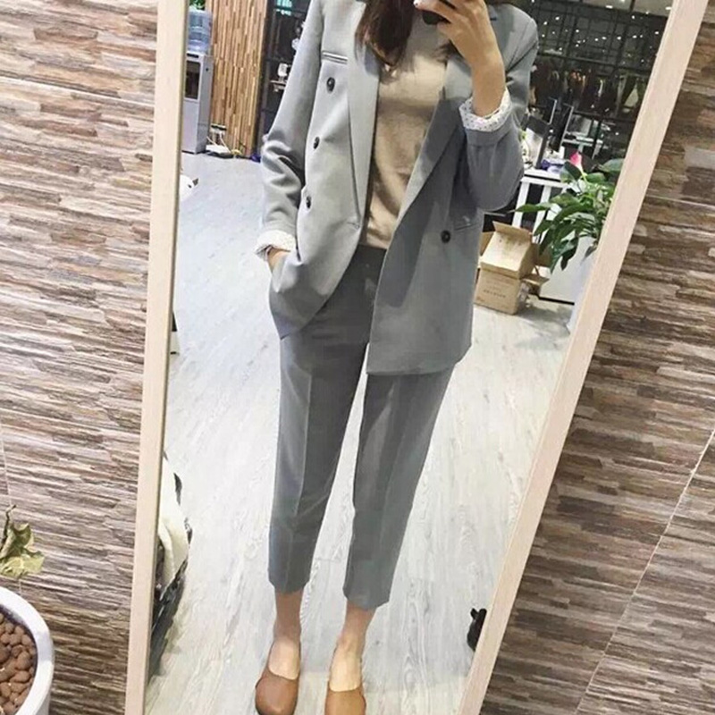 2 piece set women Suit female spring new style fashion solid color temperament office ladies OL professional uniform suit