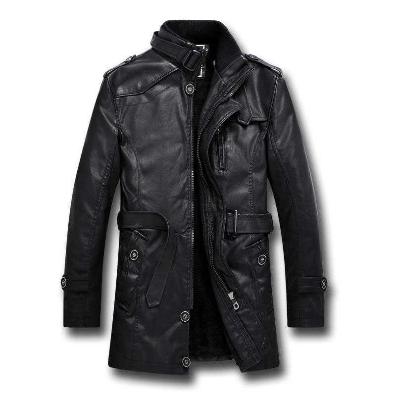 36c10b56eb3 Brand Men s Long Leather Jacket Winter Thicken Fashion Fleece Stand Collar Plus  Size Black Casual Leather