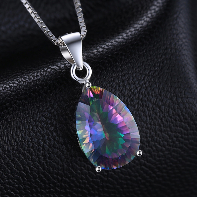 4ct Genuine Multicolor Rainbow Fire Mystic Topaz Pendant Pear Real Pure 925 sterling Silver Brand New For Women
