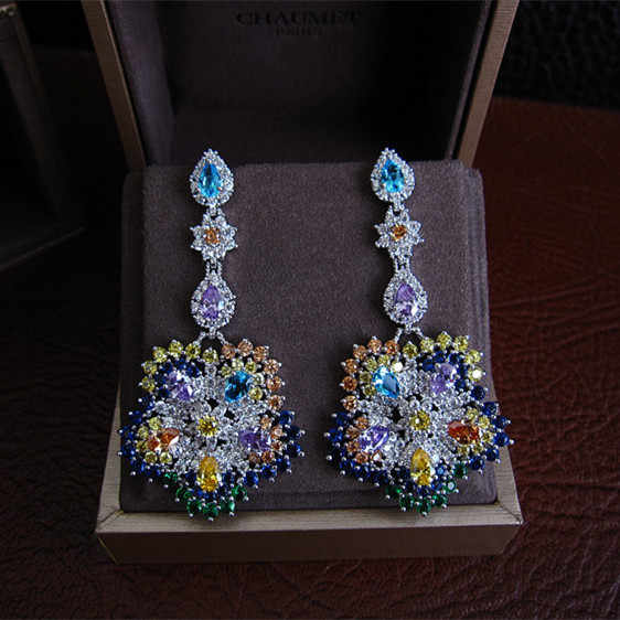 Women earrings,Fashion AAA cubic zirconia multicolour flower shaped drop earrings  novel,E9355M