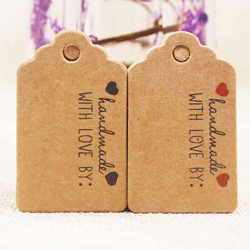 5×3 см крафт/белый DIy красное сердце Handmde этикетка тег подарок тег карты спасибо label конфеты/ свадебные бренд бирка этикетка 200 шт. в партии