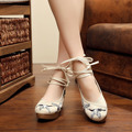 Crane Pregnant Woman Shoes Casual Slip-on Vintage Embroidered Flora Wedding Loafer Chinese Style Peking Ankle Strap Shoes