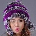 Mulheres Chapéu Do Inverno Quente Genuine Rex Coelho Fur Gorros Chapéu Listrado Casuais Tampas 2016 Nova Rússia Moda Feminina Caps