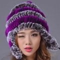 Women Winter Hat Warm Genuine Rex Rabbit Fur Beanies Hat  Casual Striped Caps 2016 New Russia Fashion Female Caps