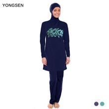 YONGSEN Plus Size Women Muslim Swimwear Flower Print Full Coverage Islam Swimsuit High Quality Arab Beach Wear недорого