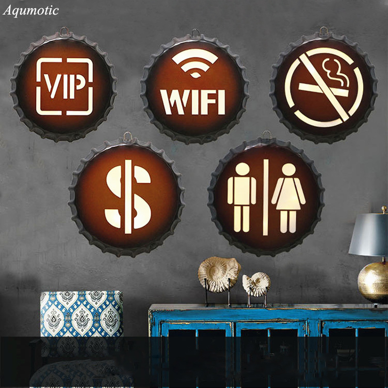 Aqumotic American Style Walls Sticker Signage Beer Cover Sign Modern Iron Craft Bar Restaurant Wall Hanging Decor Wall Indicator ...