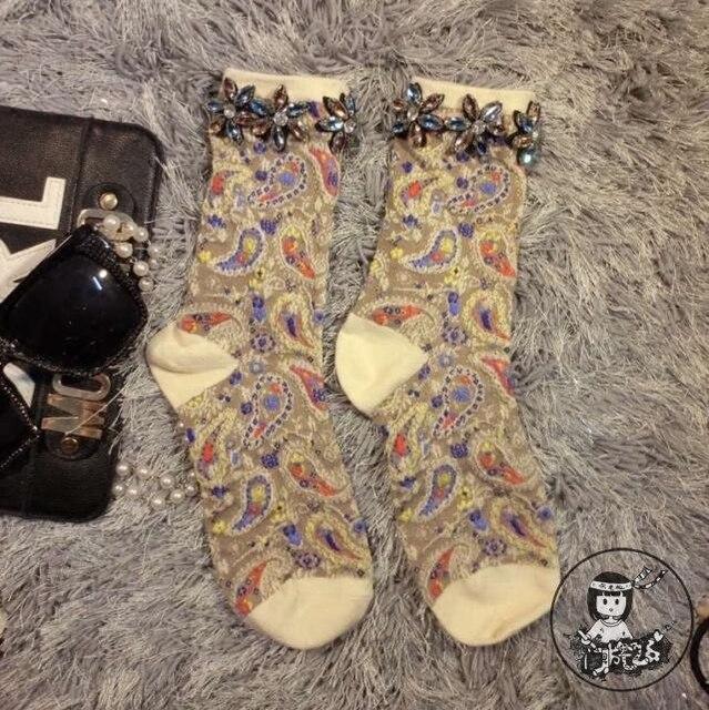 Women Socks Sale 2016 High-end Handmade Custom Girl Socks Tide Brand Totem Folk Style Diamond Flower Pile Female Short Tube