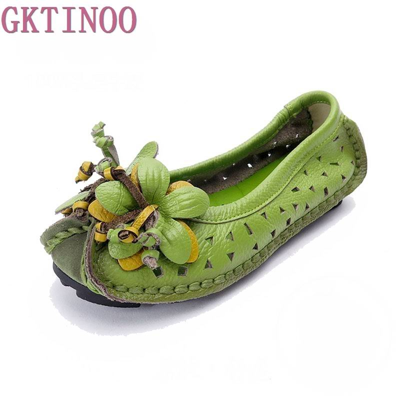 2018 New spring Handmade flower women's shoes genuine leather female moccasins loafers soft outsole casual shoes flats