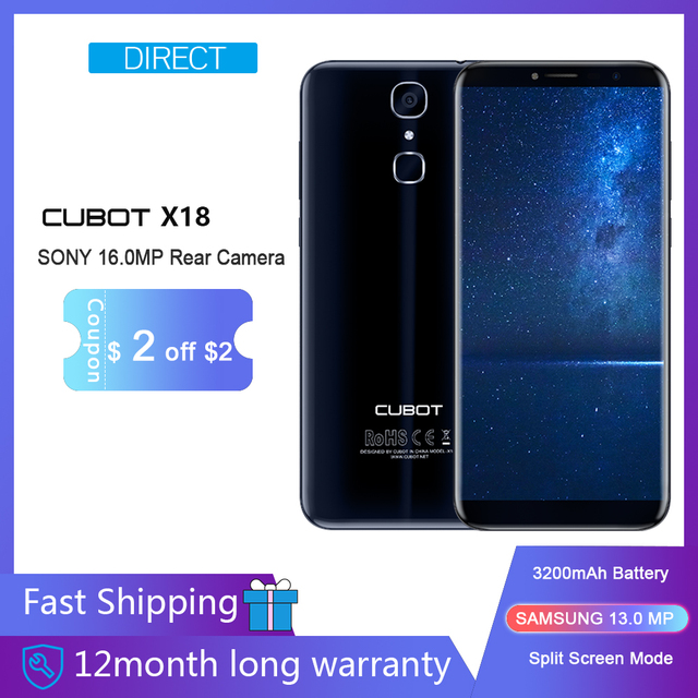 "Смартфон Cubot X18 5,7 ""HD + 18:9 MT6737T четырехъядерный мобильный телефон с двумя симкартами карты Android7.0 палец ID 3 ГБ + 32 ГБ 3200 мАч 4G LTE 13MP"